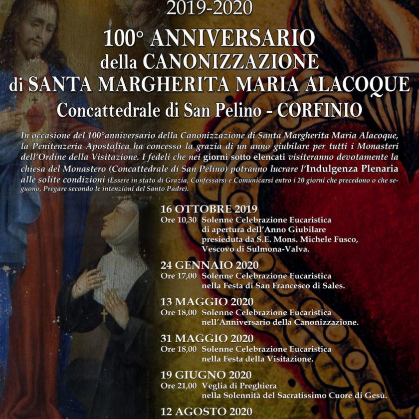 Anno Giubilare 100° della Canonizzazione di S. Maria Alacoque