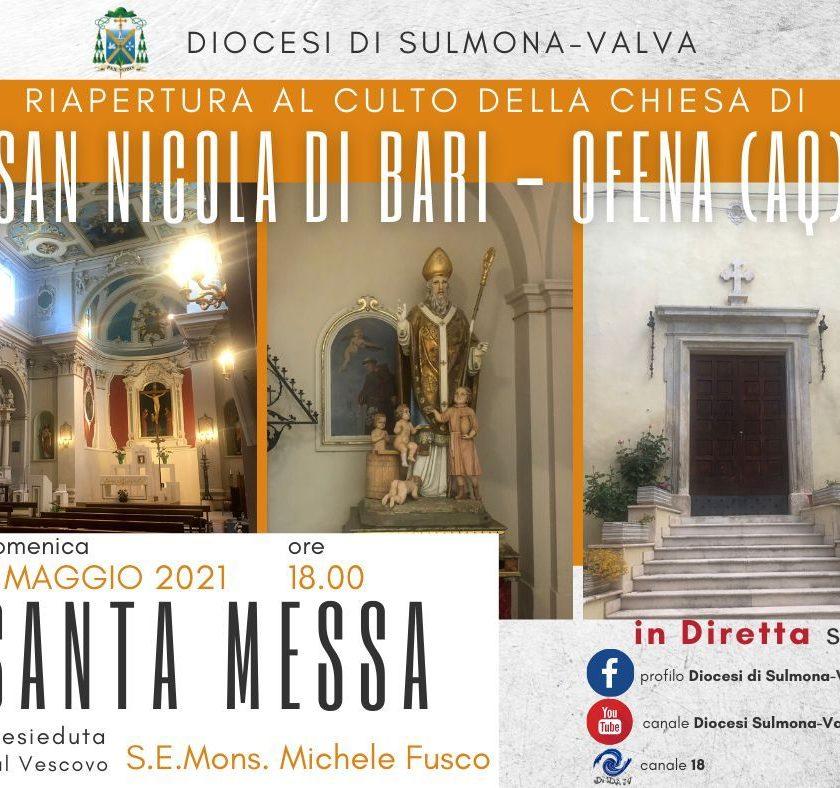 Riapertura al culto della Chiesa di San Nicola di Bari ad Ofena